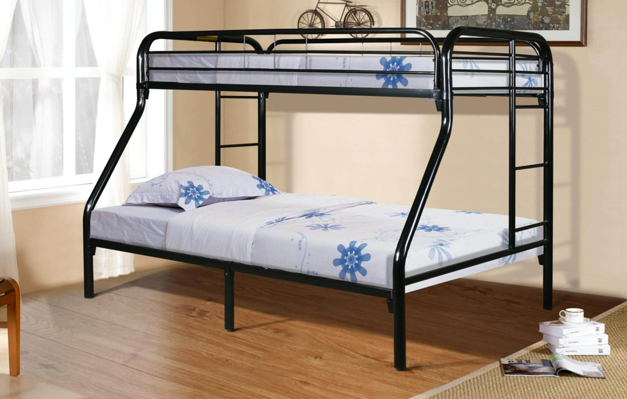 Black Twin Over Full Metal Bunk Bed Kids Bunk Beds