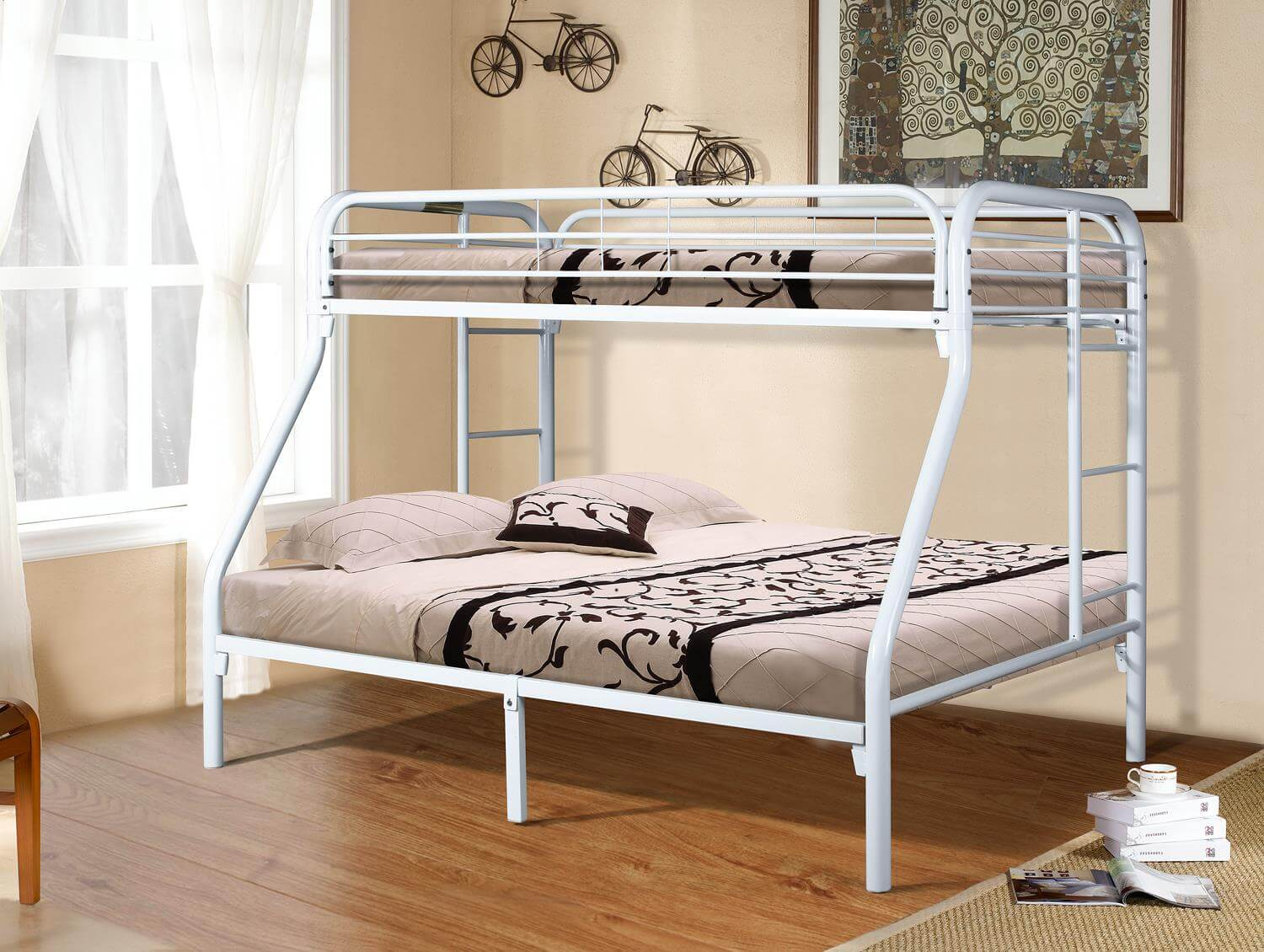 White Twin Over Full Metal Bunk Bed Kids Bunk Beds