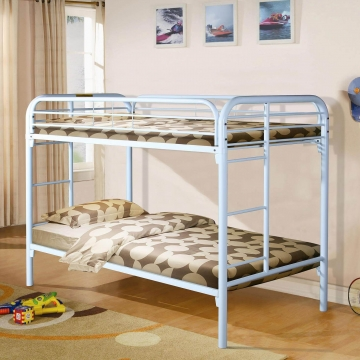 White Twin Over Twin Metal Bunk Bed