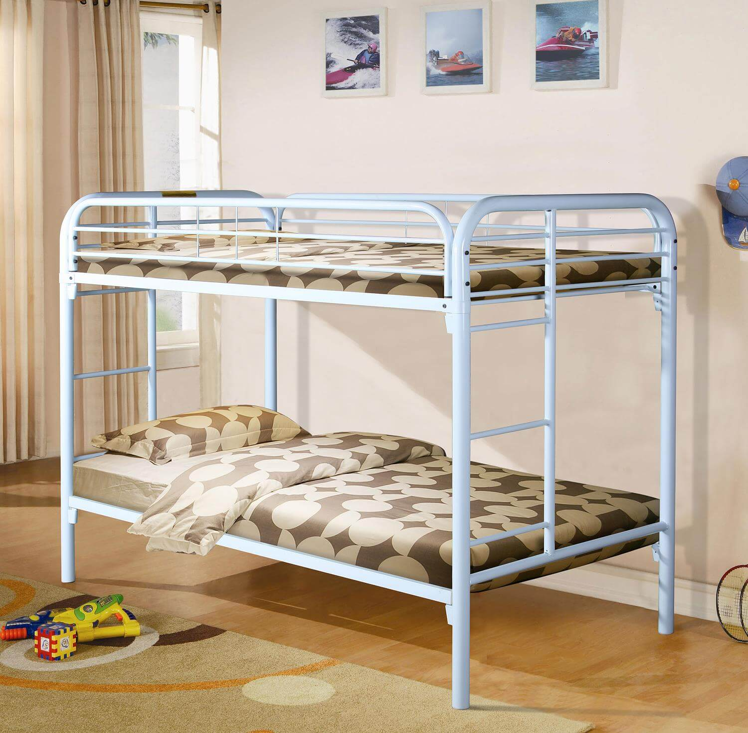 White Twin Over Twin Metal Bunk Bed Kids Bunk Beds