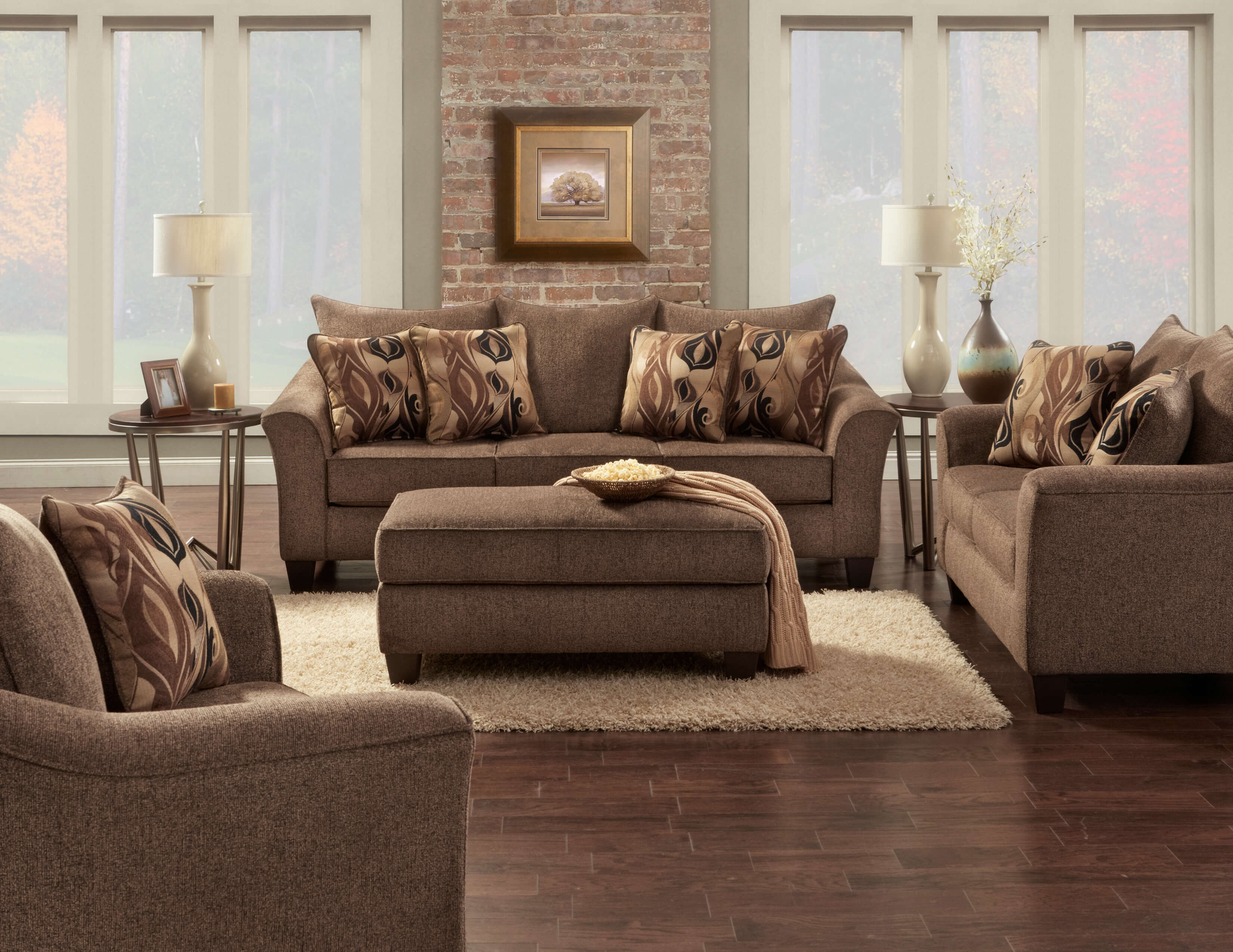 Camero Cafe Sofa And Loveseat Fabric Living Room Sets