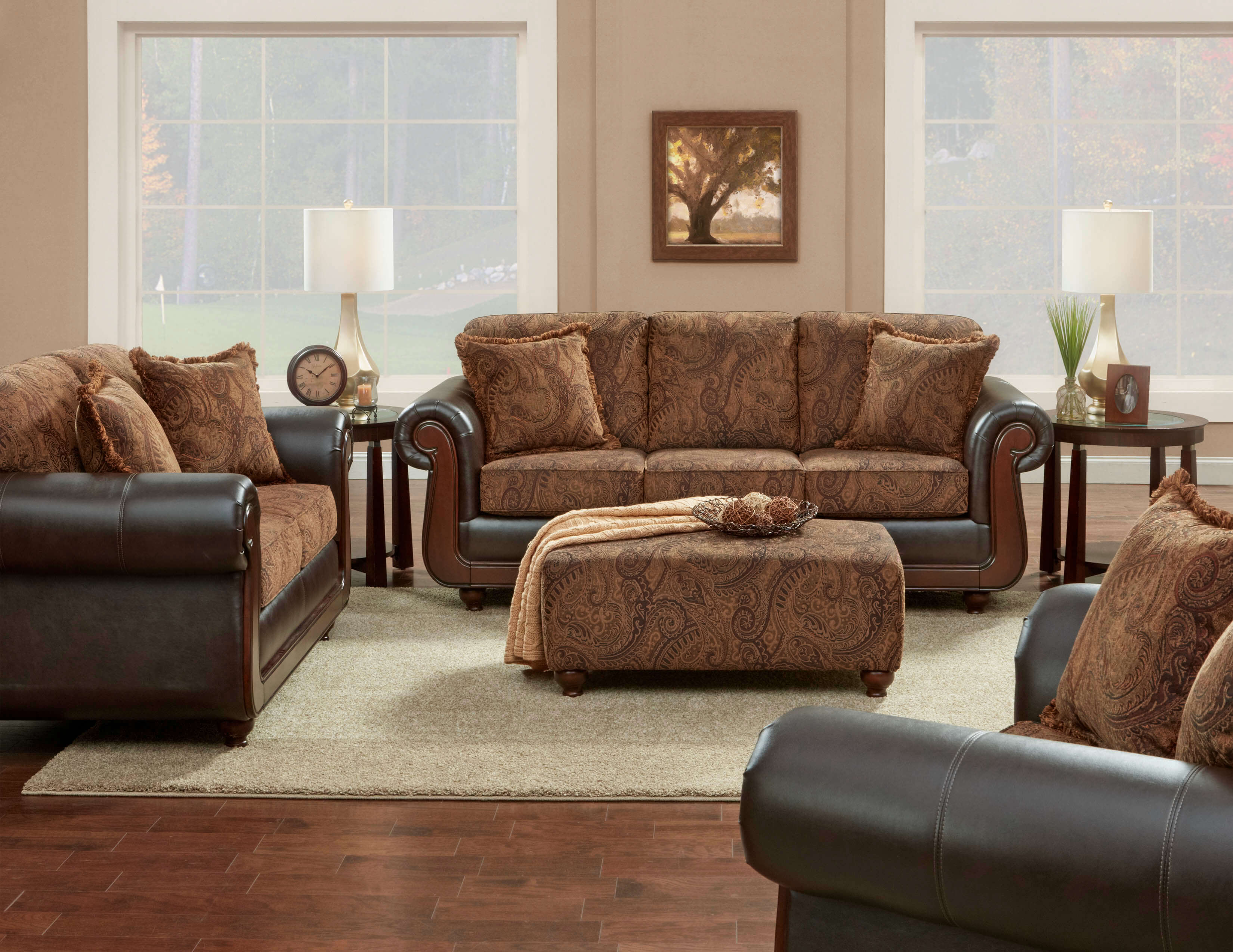 Kiser Cappuccino Sofa And Loveseat Fabric Living Room Sets