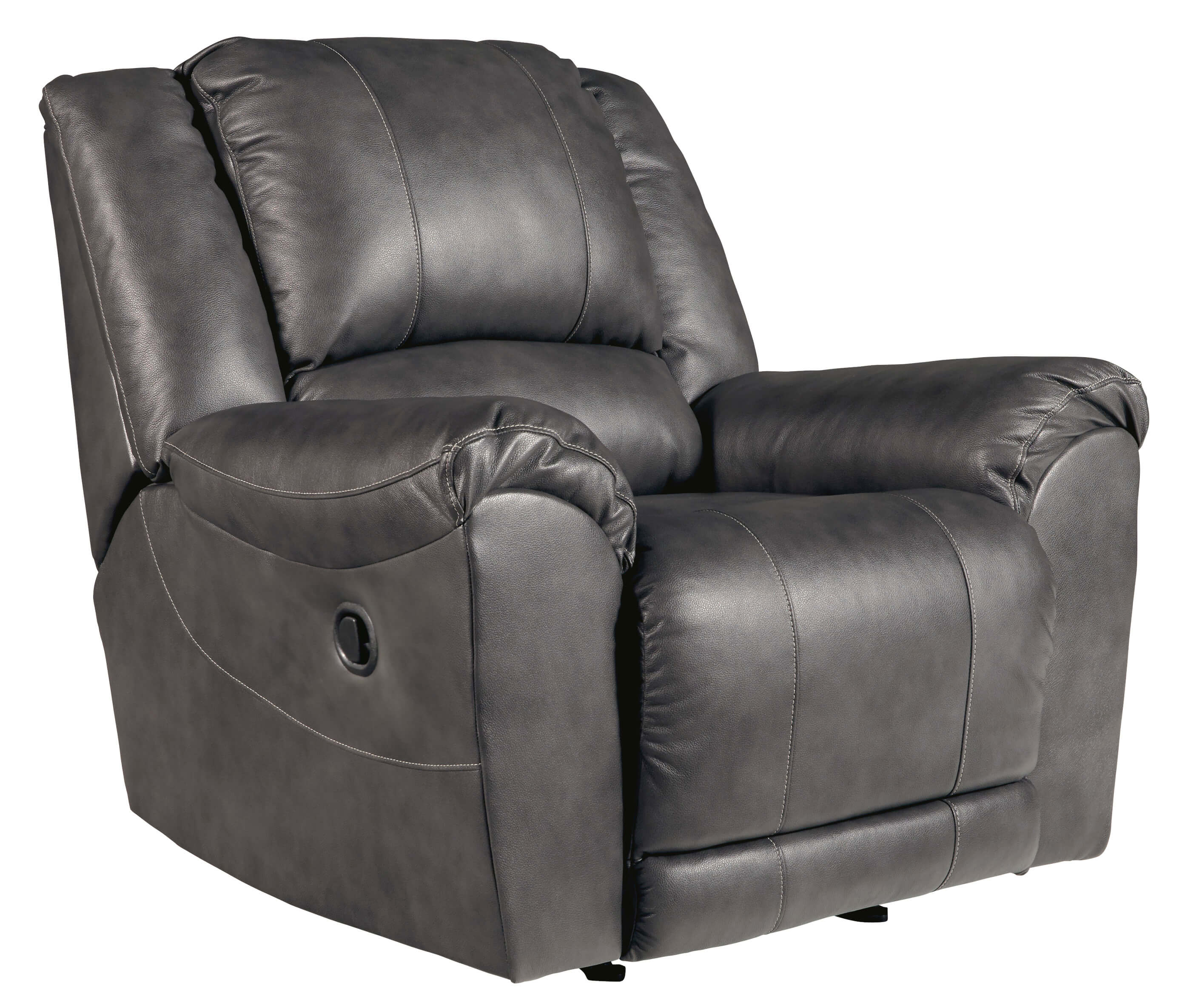 Persiphone Charcoal Leather Reclining Sofa and Loveseat