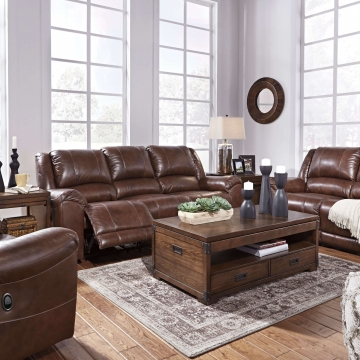 Persiphone Canyon Leather Reclining Sofa and Loveseat