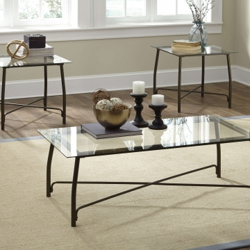 Burmesque 3 pc Glass Coffee and End Table Set