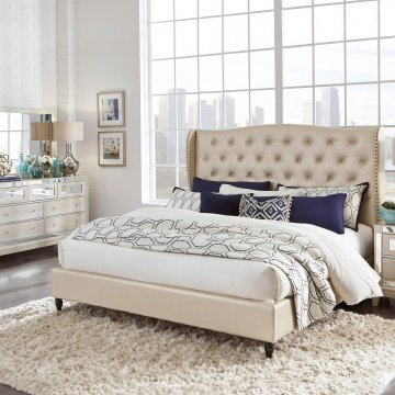 Champagne Crocodile Tufted Bed