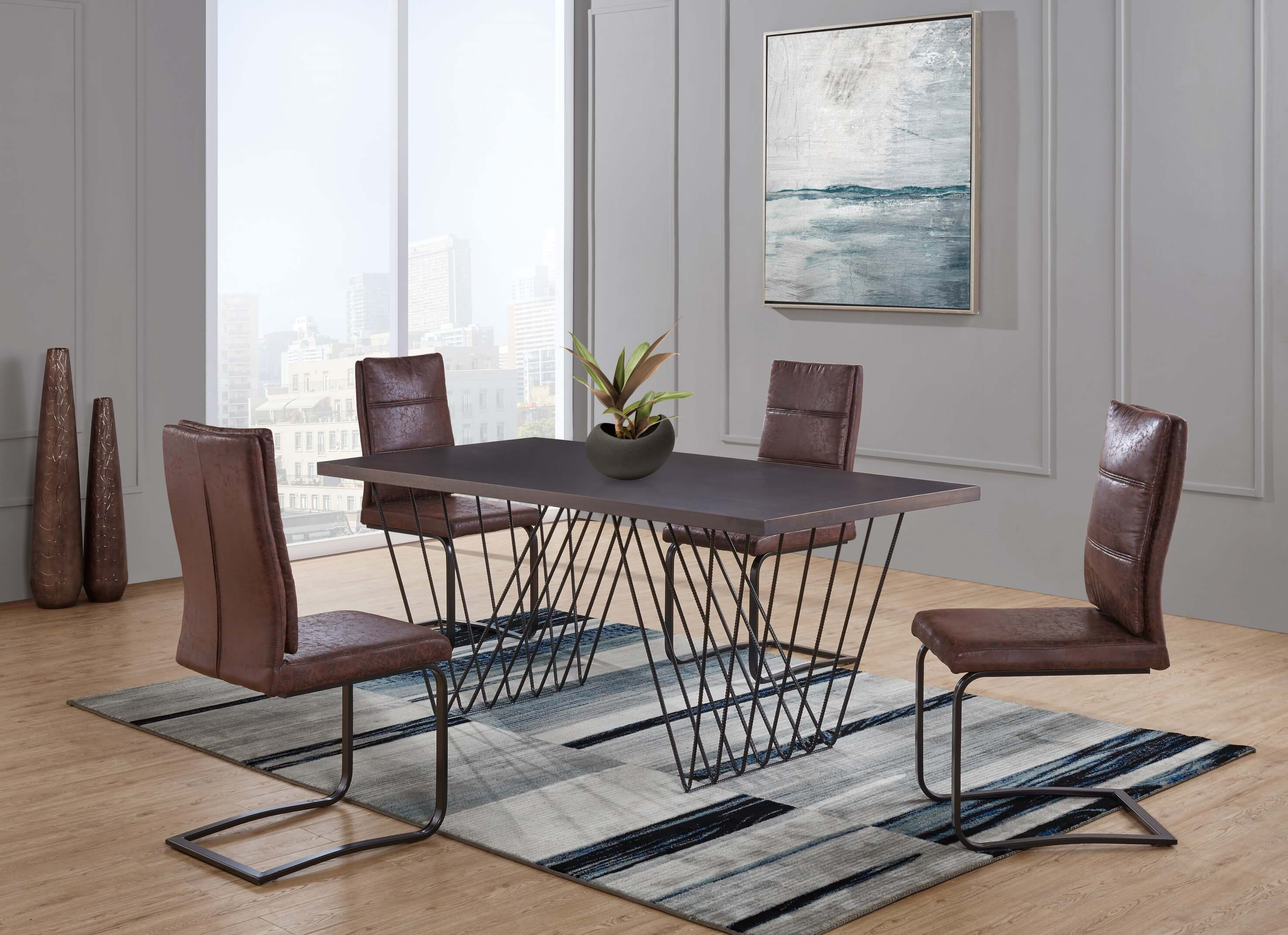 Industrial Dining Table Set: Industrial Dining Table Set