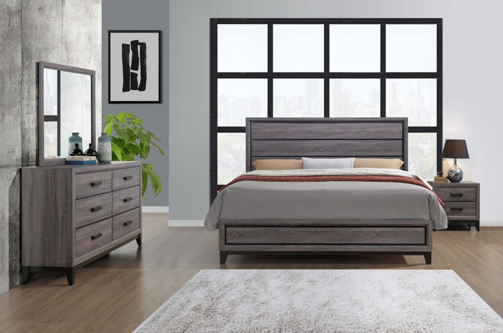 Kate Beech Wood Grey Bedroom Set