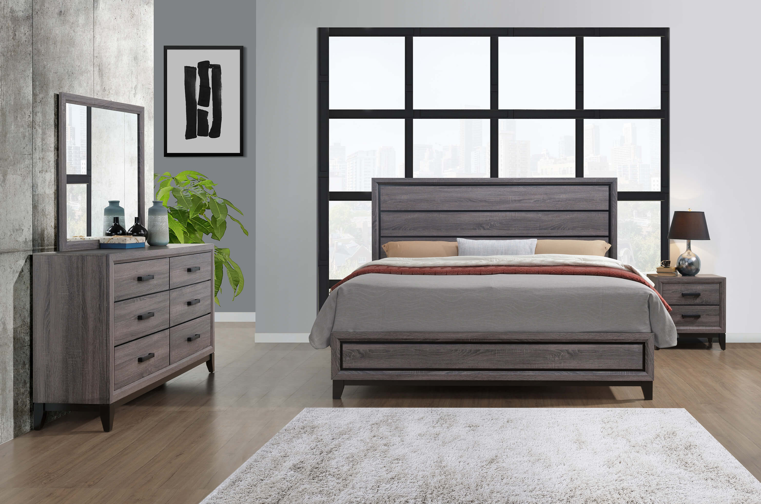 Kate beech wood grey bedroom set bedroom furniture sets for Grey wood bedroom furniture set