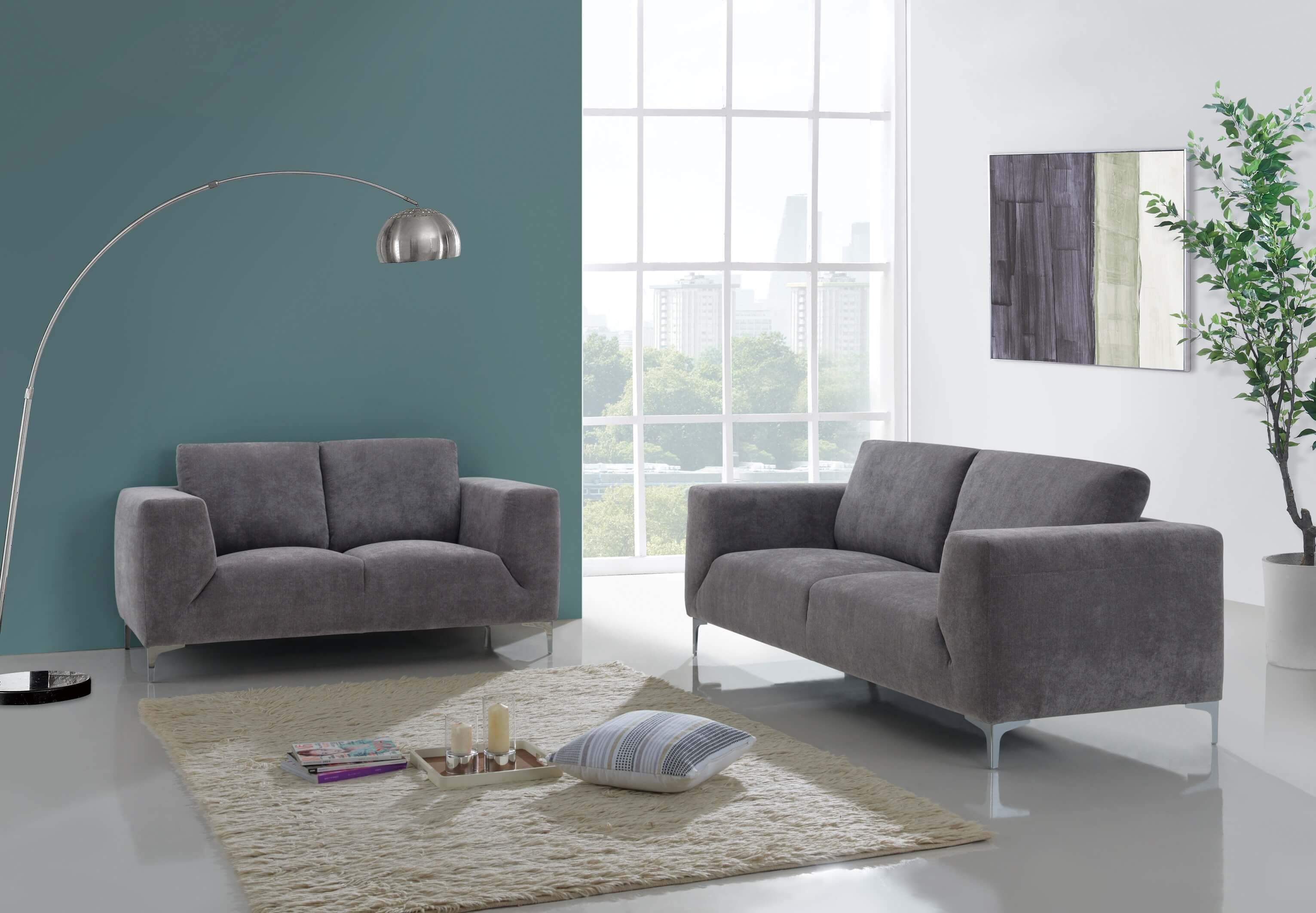 Grey Contemporary Sofa And Loveseat Fabric Living Room Sets