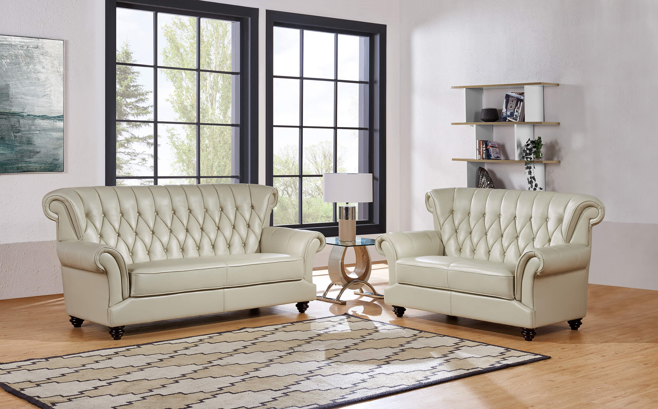 Blanche Pearl Sofa and Loveseat | Leather Living Room Sets