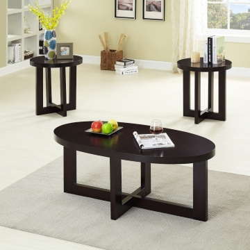 Oval Espresso Coffee and End Table Set
