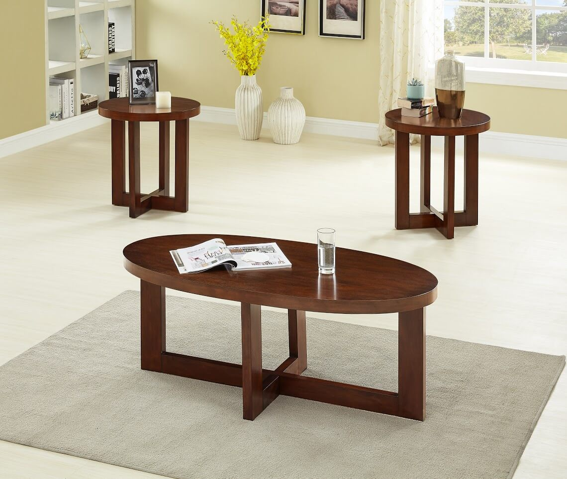 Admirable 3361 Oval Cherry Coffee And End Table Set Pabps2019 Chair Design Images Pabps2019Com