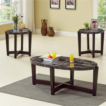 Oval Faux Marble Coffee and End Table Set