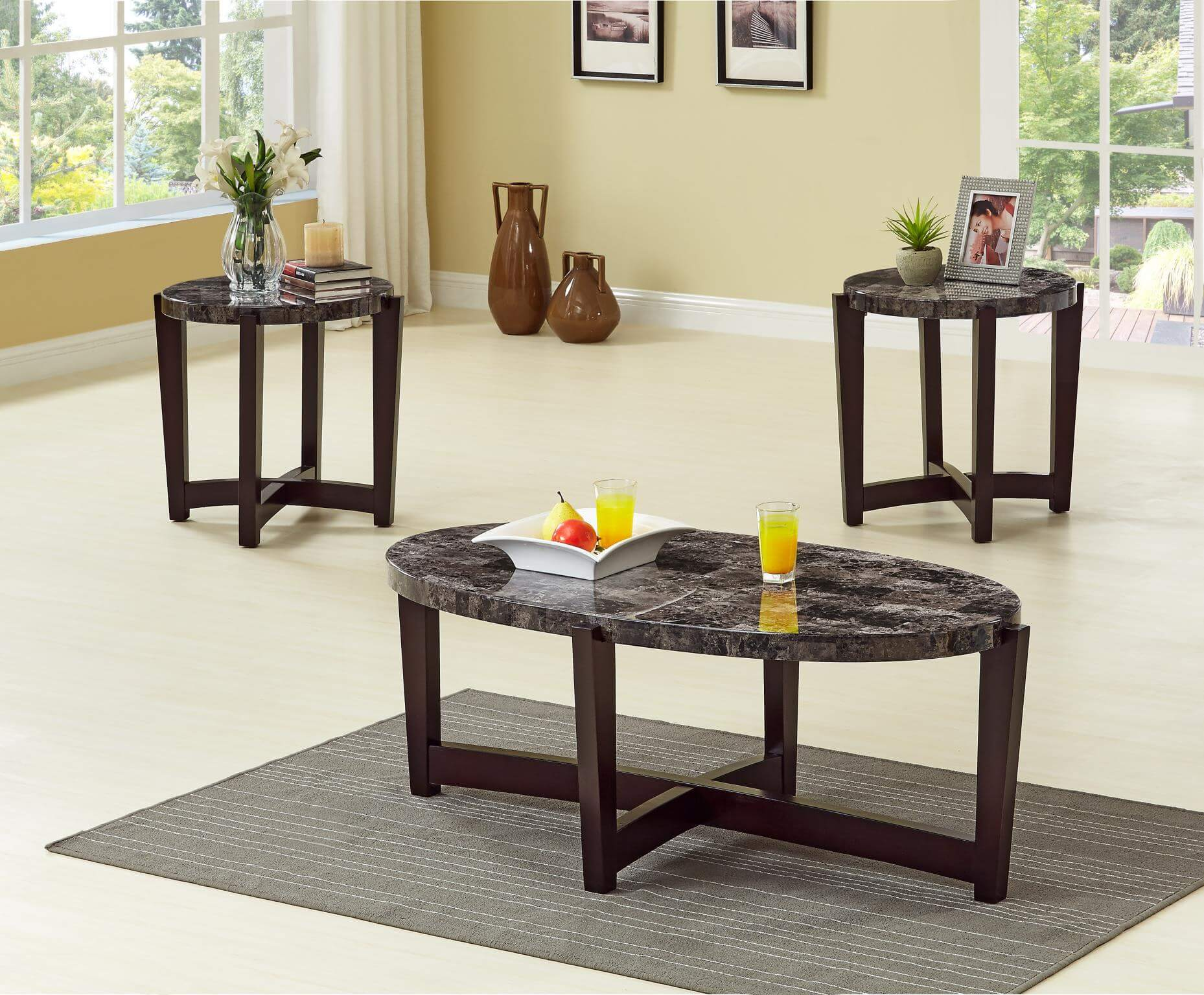 oval faux marble coffee and end table set occasional tables. Black Bedroom Furniture Sets. Home Design Ideas