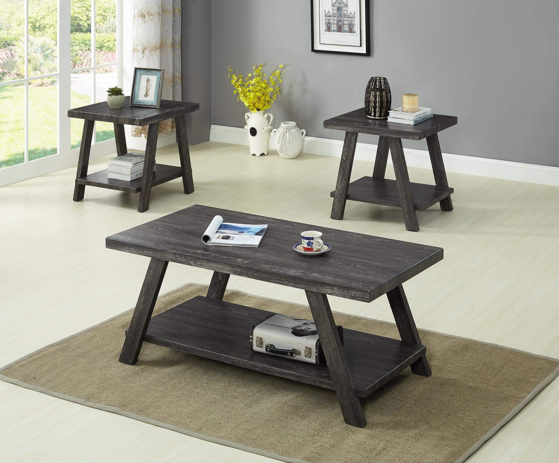 - Grey Coffee And End Table Set Occasional Tables