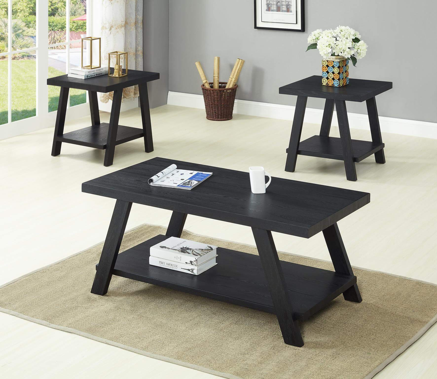 Black Coffee and End Table Set