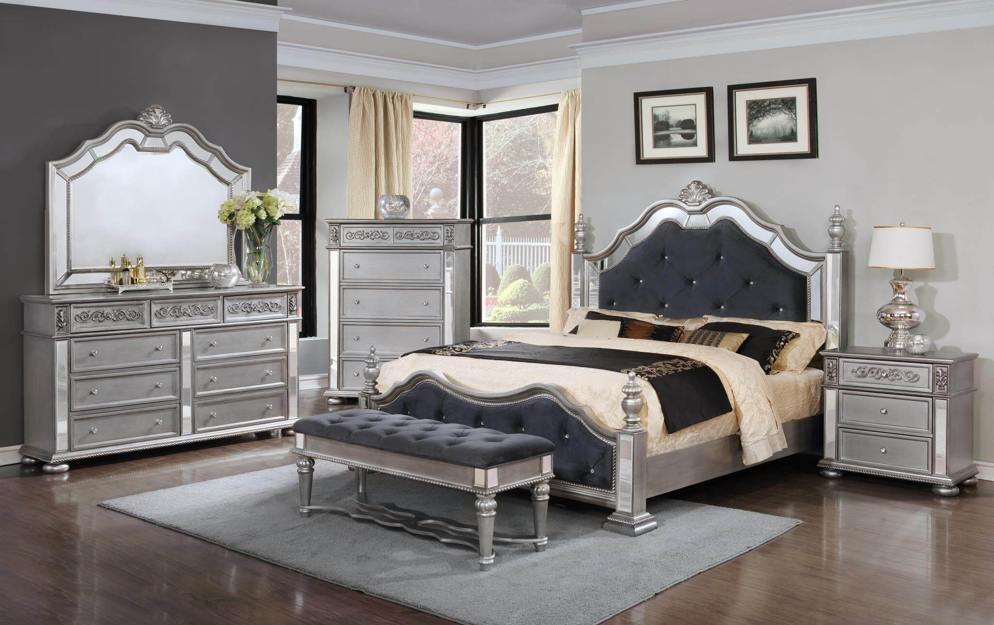 Futuristic Silver Bedroom Set Decoration