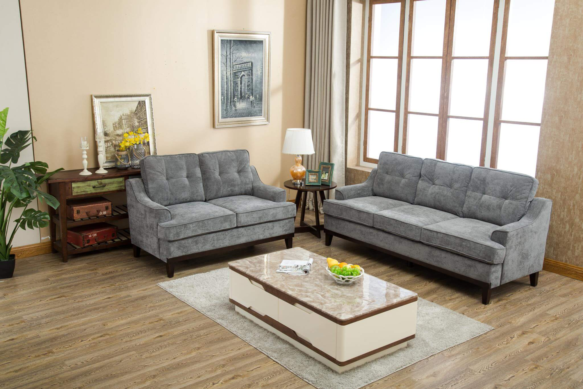 Amazing U4100 Kasper Grey Sofa And Loveseat Interior Design Ideas Clesiryabchikinfo