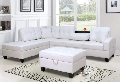 White Sectional w/Free Ottoman
