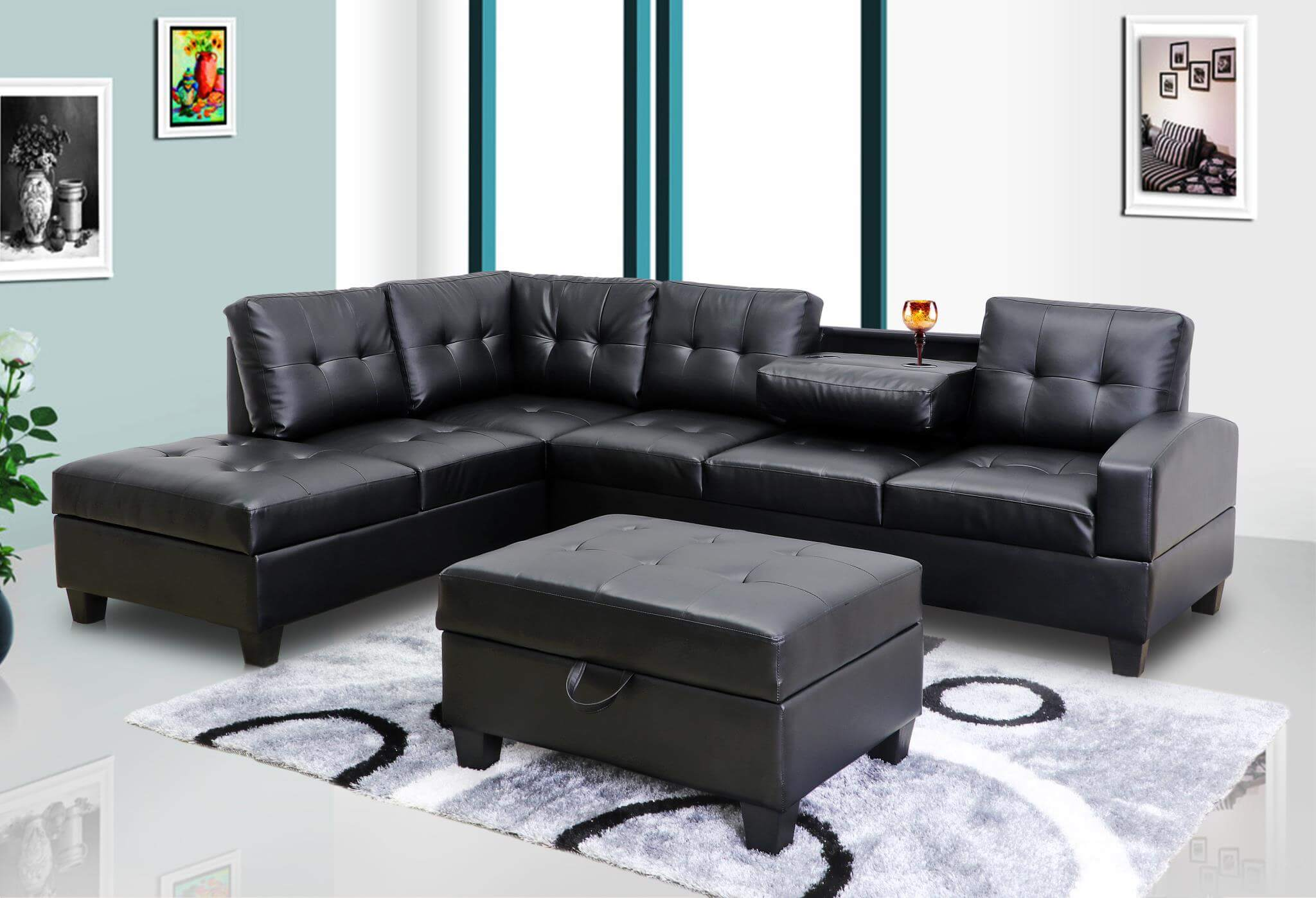 Stupendous U5400 Black Sectional W Free Ottoman Gmtry Best Dining Table And Chair Ideas Images Gmtryco