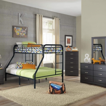 Black Bedroom Set with Twin over Full Bunk Bed