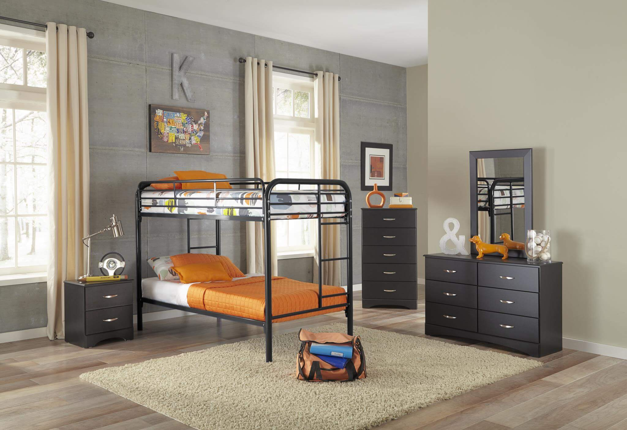 Twin over Twin Black Bunk Bed