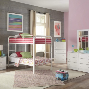 White Bedroom Set with Twin over Full Bunk Bed