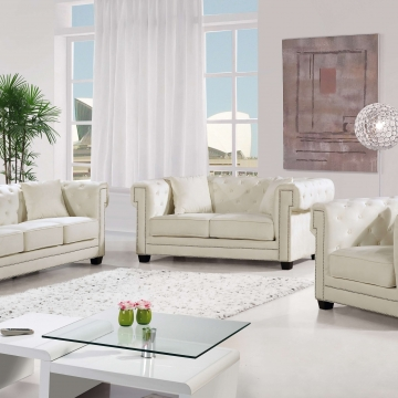 Bowery Cream Velvet Sofa and Loveseat