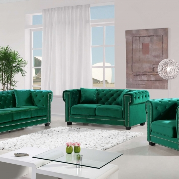 Bowery Green Velvet Sofa and Loveseat