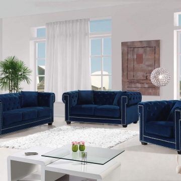 Bowery Navy Velvet Sofa and Loveseat