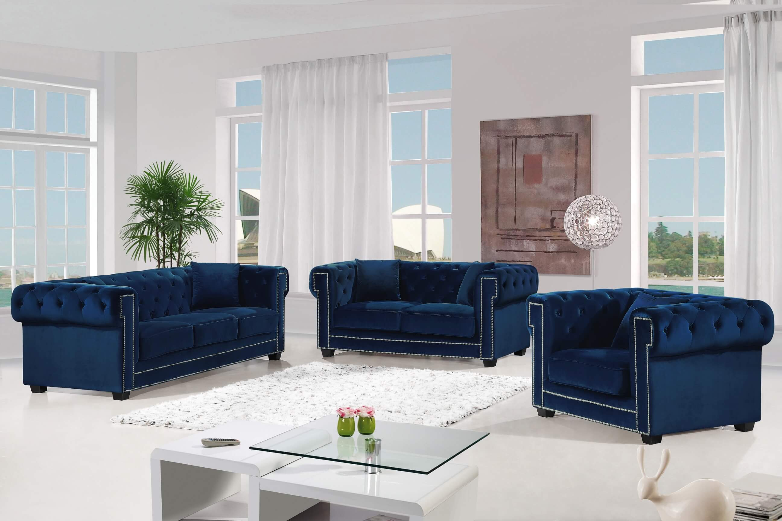 Bowery Navy Velvet Sofa and Loveseat | Fabric Living Room Sets