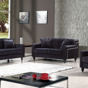 Harley Black Velvet Sofa and Loveseat