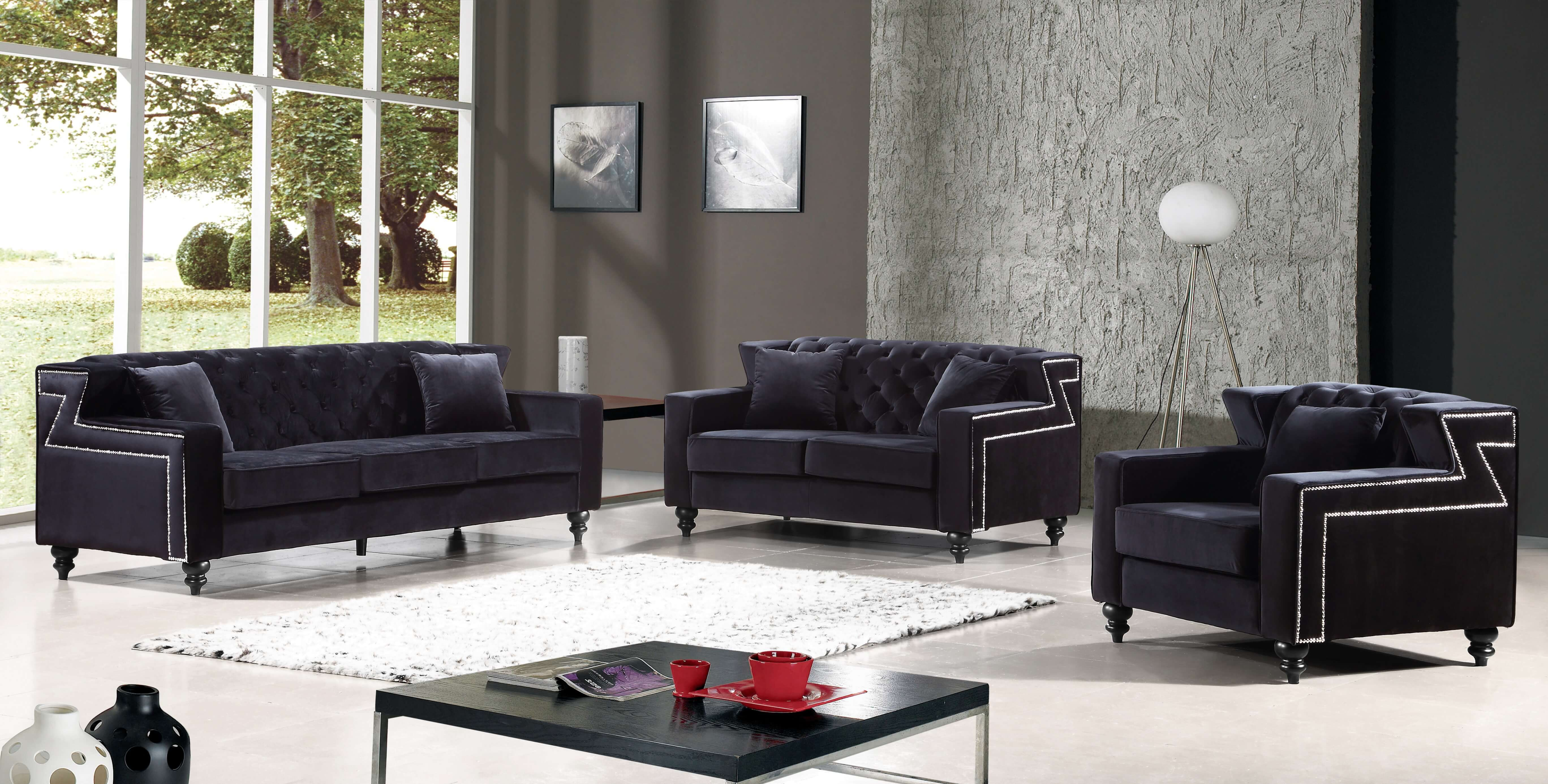 Harley Black Velvet Sofa and Loveseat | Fabric Living Room Sets