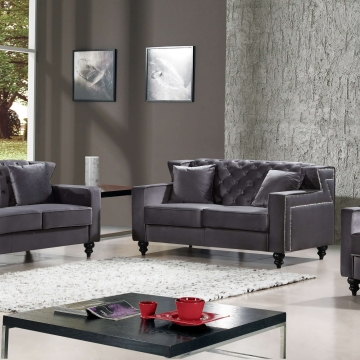 Harley Grey Velvet Sofa and Loveseat