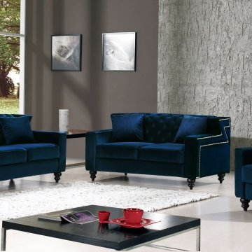 Harley Navy Velvet Sofa and Loveseat