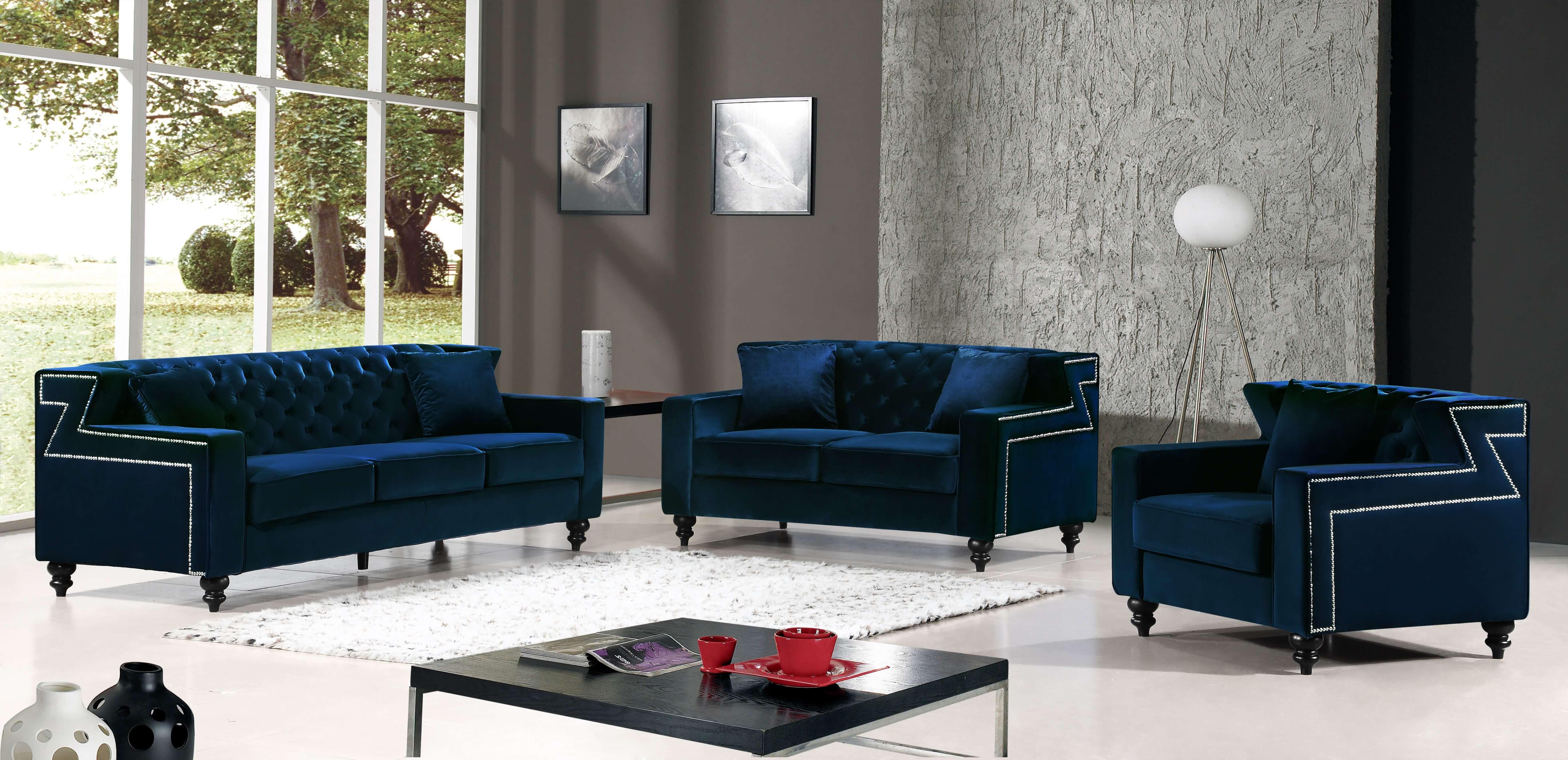 Harley Navy Velvet Sofa And Loveseat Fabric Living Room Sets