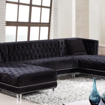 Black Moda Velvet Sectional