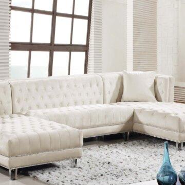 Cream Moda Velvet Sectional