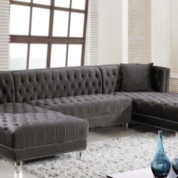 Grey Moda Velvet Sectional