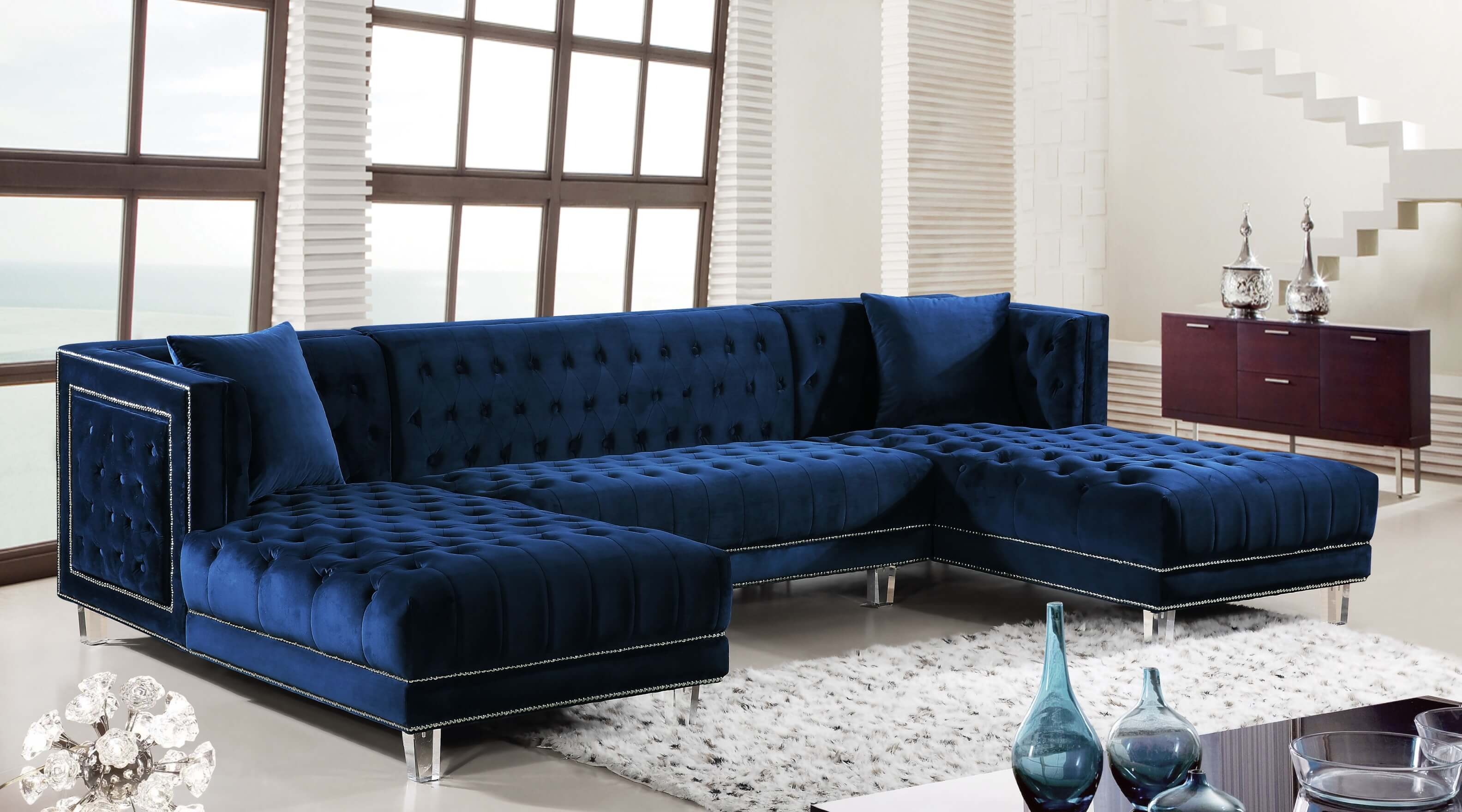 Navy Moda Velvet Sectional Urban Furniture Outlet