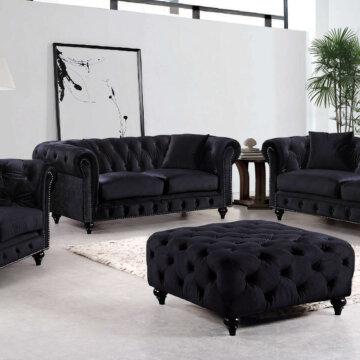 Chesterfield Black Velvet Sofa and Loveseat