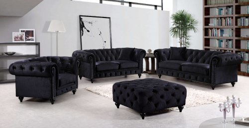 662 Chesterfield Black Velvet Sofa and Loveseat-DISCONTINUED