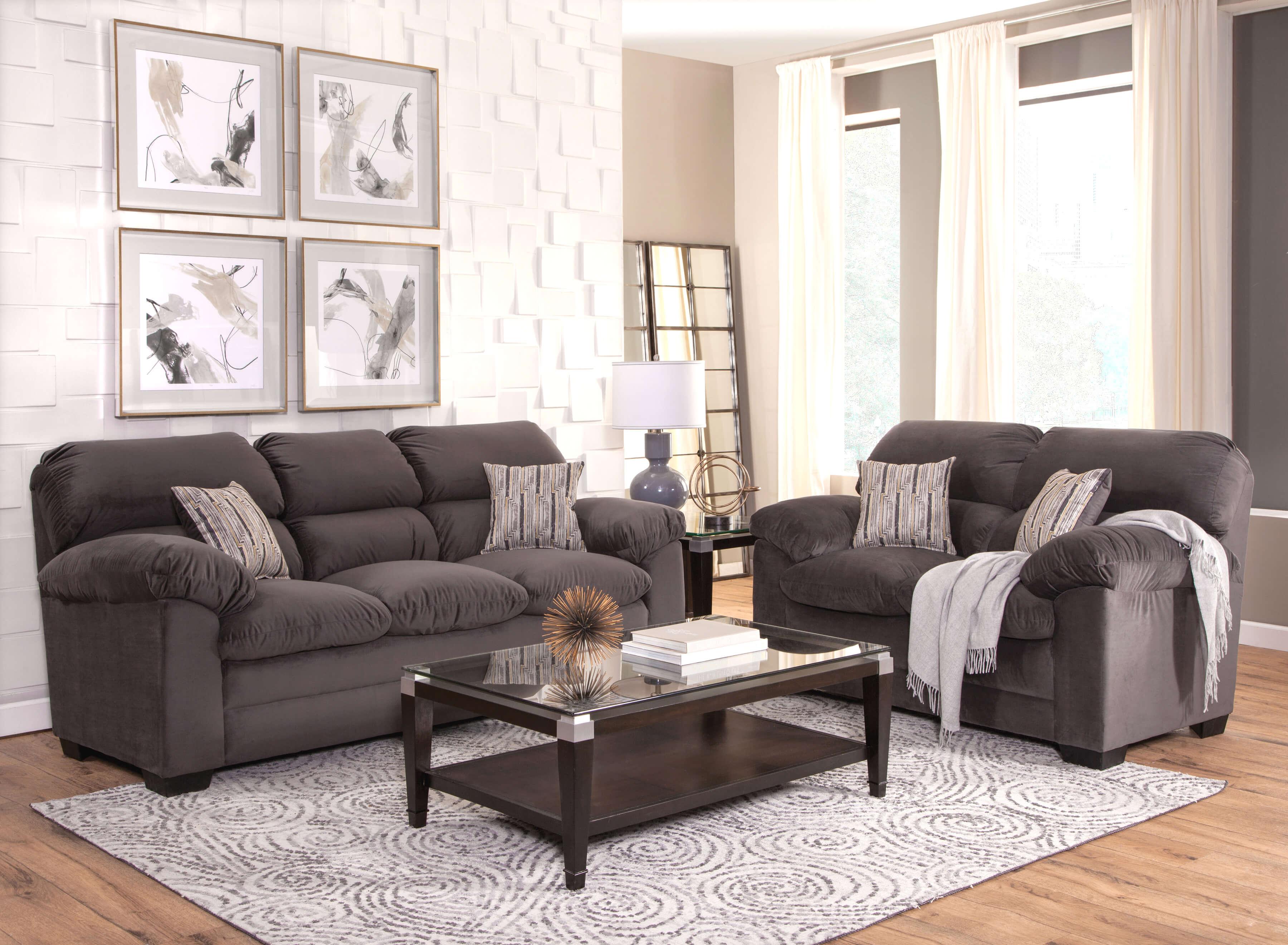 Cleanline Sofa Sets: Alta Plush Pepper Sofa And Loveseat