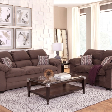 Alta Plush Toast Sofa and Loveseat