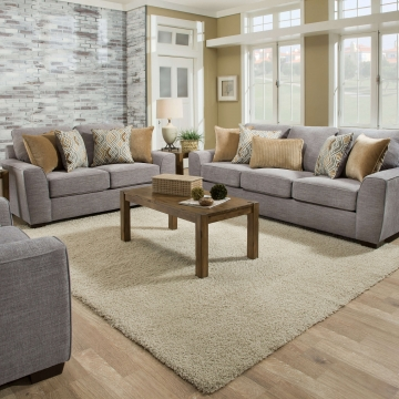Pompei Silver Sofa and Loveseat