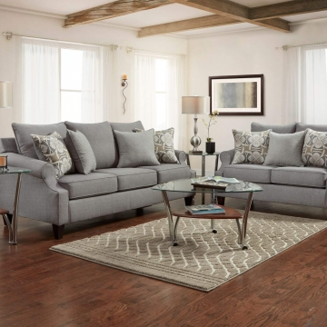Bay Ridge Grey Sofa and Loveseat