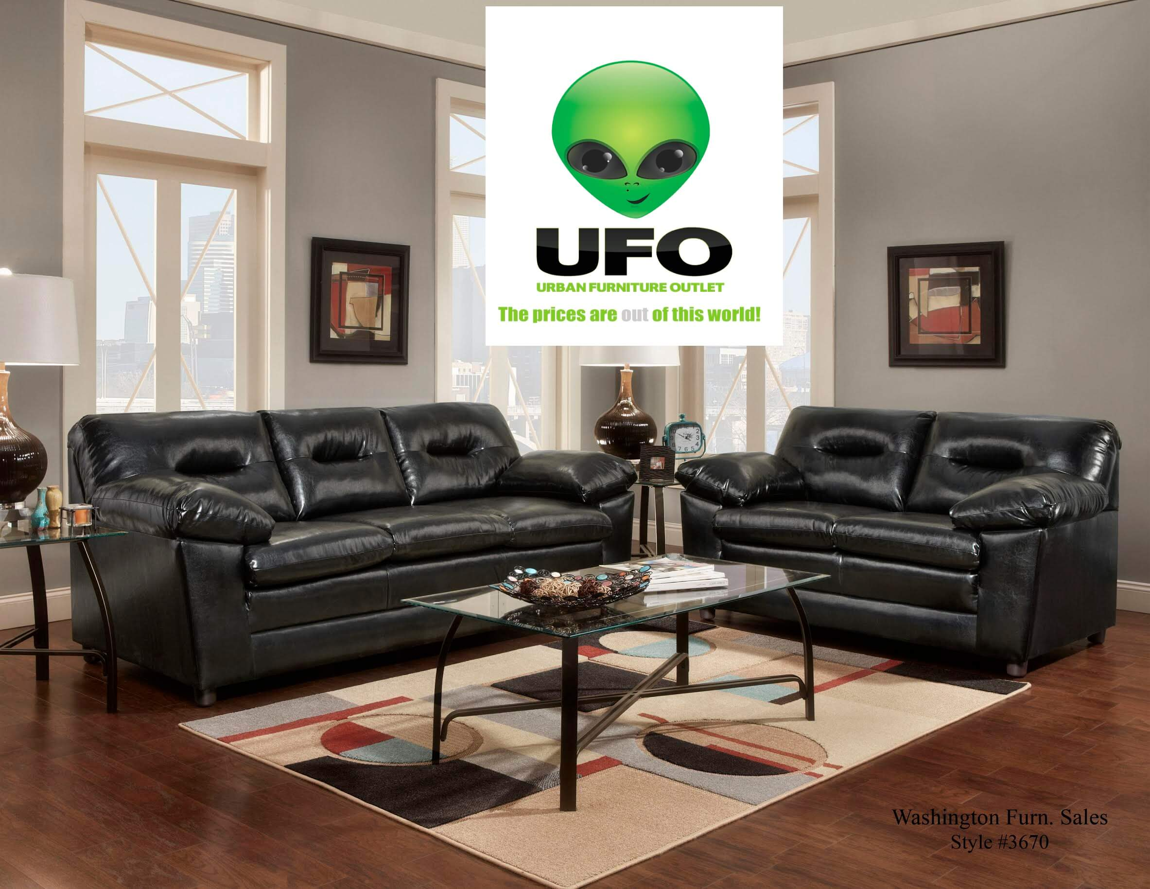 3670 Denver Black Sofa And Loveseat With Free Coffee And End Tables