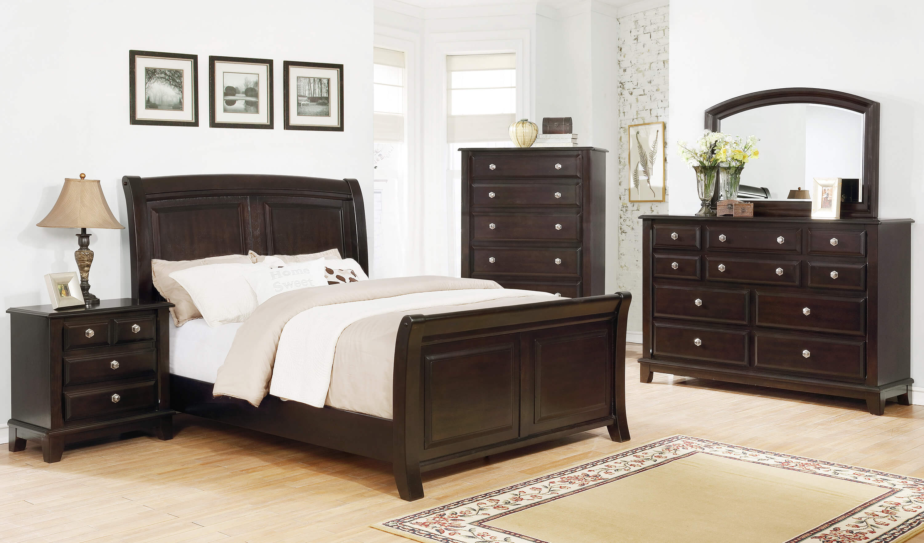 Kenton Dark Cherry Bedroom Set | Bedroom Furniture Sets
