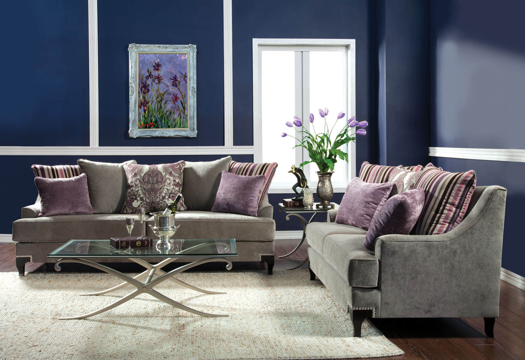 Viscontti Vintage Taupe Sofa And Loveseat Fabric Living
